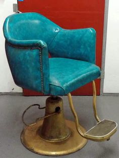 vintage turquoise barber's chair