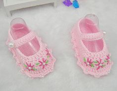 95b390ca02ef9 Light Pink Handmade Crocheted Flower Baby Girls Shoes Infant Shoes with  Pearl Around Side, Newborn Baby Crib as Baby Shower Gifts via Etsy