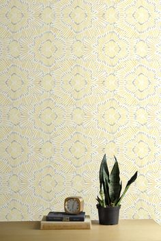 Removable Wallpaper // Pinstripe Floral Yellow // Adheres to walls and shelves // Fully removable