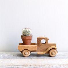 Vintage Handmade Wooden Toy Truck.
