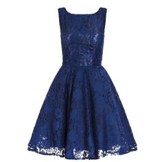 Navy Lace High Neck Skater Dress ($69) ❤ liked on Polyvore featuring dresses, navy blue dress, lace skater dress, high neck dress, blue lace dress and skater dress