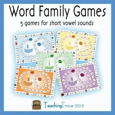 Word families / short vowel sounds are reinforced with this set of 5 word family games.   Word families covered:  an, at, ap, am. ad  en, et, ed, eg  ig, ip, in  og, op, ob,ot, od  ut, um, un, ug, ub