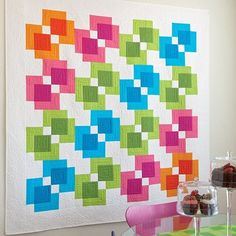 Rectangle Reflection Quilt Free Pattern designed by Accuquilt. Modern Quilt Patterns, Quilt Block Patterns, Pattern Blocks, Quilt Blocks, Modern Quilting, Quilt Modern, Fabric Cutter, Rainbow Quilt, Easy Quilts