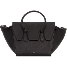 Celine Mini Grainy Leather Tie Bag ($3,300) ❤ liked on Polyvore featuring bags, handbags, black leather bag, genuine leather purse, miniature purse, mini handbags and leather handbags