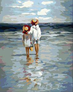 特價 數字油畫diy油畫 手繪裝飾畫 彩繪數碼數字畫4050大看海-淘寶網