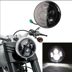 Harley Motorcycle Accessories 7'' Round projector LED Headlights 6000K highLow beam headlamp for Harley Davidson