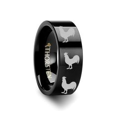 Animal Rooster Print Ring Engraved Flat Black Tungsten Ring - 4mm - 12mm