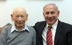 Israeli Prime Minister Benjamin Netanyahu sits with his father, Professor Benzion Netanyahu, on March 25. The elder Netanyahu, 102, died at his home on April 30 in Jerusalem, Israel