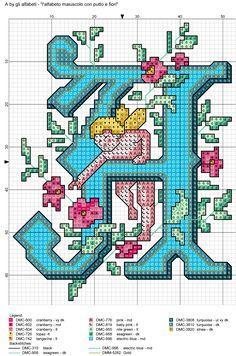 alfabeto maiuscolo con putto e fiori A