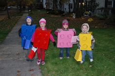 Lego Costumes @Nikki Hunt @Elizabeth Hume Do you think we could talk all the kids into being legos for Halloween?  How cute would they be all Trick or Treating together?? :)