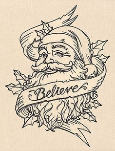 Believe in Santa design (UT8343) from UrbanThreads.com ~ Lovely Christmas mMachine embroidery design!