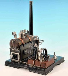 toys marklin 4197 horizontal steam toy ship steam engine with heavy cast base, with water pump, bur, Historytoy