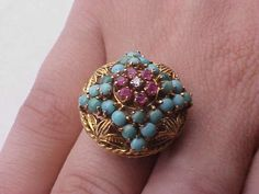 Incredible works of Art, Victorian  750 YG Diamond , Rubys Turquoise Ring,1800's #Unbranded
