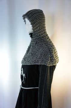 Faux chain mail coif and collar a hand knit by TheCenturiesChest
