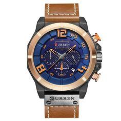 Luxury 3 Small Dials Calendar Men's Watch Fashion Leather Band Quartz Watch Sport Watch Gift for Him online - NewChic