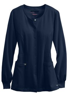 """<p>What makes this one of our most popular warm-up jackets?  As if the soft, breathable material on this Grey's Anatomy jacket wasn't enough, the flattering princess seams will make you look great, and the roomy patch pockets are convenience to hold all of your essential accessories!</p> <ul> <li>Round neck</li> <li>Two pockets</li> <li>Princess seam</li> <li>Banded side detail</li> <li>Banded back</li> <li>27"""" length</li> <li>71 percent polyester/24 percent rayon/5 percent spandex</li…"""