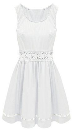 White Sleeveless Crochet Lace Embellished Waist Skater Dress - this would be a sweet little dress for a bride-to-be to wear to a rehearsal dinner.