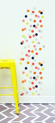 Dot Wall Decal - such a fun, modern pop of color in a nursery or playroom from @The Lovely Wall Co.! #nurserydecor