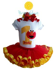 Toddler Personalized Sesame Street Elmo Birthday Tutu Outfit, My First Birthday Tutu Outfit, Set Includes Top/Onesie,Tutu,Hair Accessory by Closet17Boutique on Etsy https://www.etsy.com/listing/223299319/toddler-personalized-sesame-street-elmo