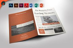Newspaper Funeral Program PowerPoint, Publisher, and Word Template pages) Folded Half Pag Good Presentation, Professional Presentation, Program Template, Brochure Template, Business Brochure, Business Card Logo, Font Names, Photoshop Tutorial, Photoshop Actions
