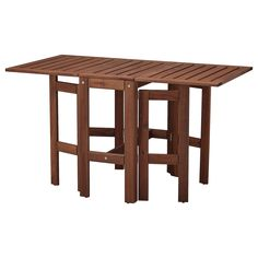 ÄPPLARÖ Gateleg table for wall, outdoor - brown stained - IKEA Teak, Wood Supply, Ikea Family, Drop Leaf Table, Outdoor Flooring, Recycled Wood, Acacia Wood, Wood Species, Types Of Wood