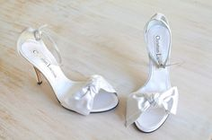 Christian Lacroix White Satin Bow Ankle Strap by LaDonnaPrive