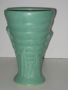 Brush McCoy Art Deco Leaf Motif Semi Gloss Turquoise Blue Vase Kolorkraft 1920'S | eBay