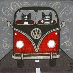 VW Bus with cats driving