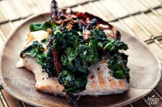 Salmon Florentine  This is really yummy - I substituted mushrooms for the sun dried tomatoes... And you could substitute chicken for the salmon