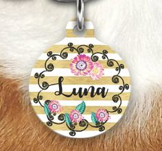 Girly Pet Tag Floral Striped Pet Tag by MysticCustomDesignCo
