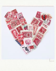Vintage Stamp Valentine My mother had these huge thick books of collections of stamps. Mom & Dad were married on Valentines Day too.