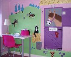 Aubrey would love this wall, a horse and kitty!!! girls pony horse bedroom ideas | Tel: 01908 543530 | Mobile: 07771 782031 | Mail: magic@ ...