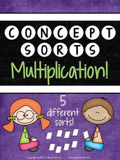 """Are you familiar with concept sorts? Many people use """"sorts"""" with their spelling or word work programs, but sorting and categorizing can be extremely effective learning strategies for MANY areas! I have found sorts to be particularly effective in my math instruction.  I have included a full blog post with photos to help get you started! So...what's included in THIS resource?  Everything you need to do 5 different sorts with multiplication concepts from facts to primes to estimating!  $"""