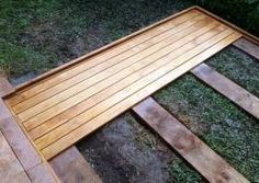 Cool Deck Design Tg We Could Put This Over The Lawn Mower Parking with Chic Building Ground Level Deckcool Designs On Wood Backyard Projects, Backyard Patio, Backyard Landscaping, Wood Patio, Wood Projects, Cool Deck, Diy Deck, Unique Garden, Floating Deck