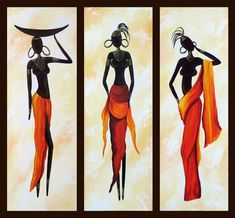 African Woman Painting, African Girl Art, Abstract Figure Art, Dining Room Abstract Painting - Silvia Home Craft Buy Paintings Online, Canvas Paintings For Sale, Online Painting, Oil Paintings, 3 Piece Canvas Art, 3 Piece Wall Art, Large Canvas, Hand Painting Art, Woman Painting
