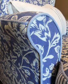 Cotton linen slipcover details by Karen Powell.