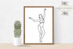 One line Ballerina, One line dancer, Minimalist woman portrait Woman Portrait, Female Portrait, Continuous Line Drawing, Black White Art, Dance Art, Handmade Items, Handmade Gifts, Ballet Dancers, Own Home