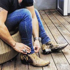 @ajtjewellery in his Ochre Monica Pythons @bootstarusa | Old Gringo Monica Python Zip Ochre Mens Boots BM563-45