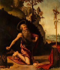 SAN GIROLAMO PENITENTE - DER HEILIGE HIERONYMUS ALS BÜSSER Öl auf Holz. 61 x 51 cm. Ungerahmt. Dem Gemälde ist eine Expertise von Rodolfo Pallucchini in...