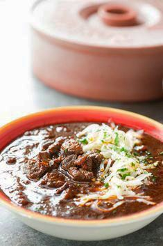 A Tried and True recipe for authentic Texas Beef Brisket Chili with NO BEANS. Get this award winning to impress or win a Chili Cookoff of your own! Best Chili Recipe, Chilli Recipes, Best Soup Recipes, Beef Recipes, Mexican Food Recipes, Cooking Recipes, Game Recipes, Cooking Ideas, Bon Appetit