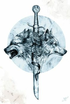 Two wolves and a sword tattoo . - Two wolves and a sword tattoo … # wolves - Wolf T-shirt, Dire Wolf, Tattoo Drawings, Body Art Tattoos, Sleeve Tattoos, Circle Tattoos, Tattoo Ink, Arm Tattoo, Wolf Tattoo Design