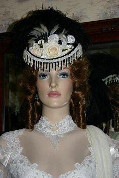 "Victorian Hat Riding Hat Sidesaddle Hat Western Hat SASS Hat ""Spirit of Dodge City II"" Black & Ivory Hat"