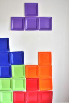DIY Tetris Photo Backdrop. HA! Cute!