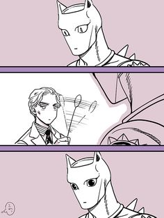 jojo's bizarre adventure stand (jojo) kira yoshikage killer queen merumeru626 monochrome comic 1boy 3koma afterimage cattail (plant) dilated pupils formal male focus motion lines necktie plant slit pupils suit waving