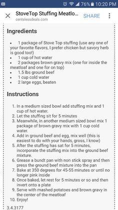 Stovetop stuffing meatloaf #stovetopmeatloafrecipes