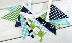 Mini Bunting Banner, Fabric Banner, Fabric Flags, Nautical Baby Nursery Decor - Anchors, Aqua Blue, Navy Blue, Lime Green, Chevron, Dots