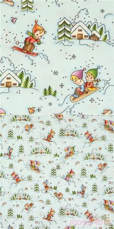 blue cotton fabric with children playing in the snow; sledding, skiing and snow covered houses and trees, Material: 100% cotton, Fabric Type: smooth cotton fabric #Cotton #Children #Christmas #USAFabrics Michael Miller, Christmas Fabric, Winter House, Fabric Patterns, Kids Playing, Skiing, Cotton Fabric, Smooth, Ski