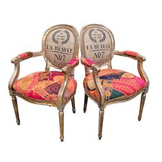 Pair of Patchwork Chairs Arm Chairs Gilded French Louis XVI Eclectic Bohemian Set of Dining Chairs Custom Order Upholstered Furniture, Custom Furniture, Furniture Chairs, Furniture Design, Painted Chairs, Painted Furniture, Refinished Furniture, Patchwork Chair, French Chairs