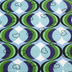 Mod Wallpaper Hearts Cotton Jersey Knit Fabric