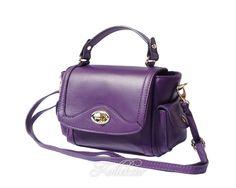 Small Italian Genuine Leather Purple Handbag/Cross Body Bag with Shoulder Strap